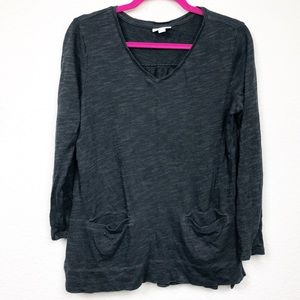J. Jill 3/4 Sleeve Pocket Front Blouse Textured S